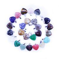 Coeur Naturel Pierre Pendentifs Charmes Mix Couleurs Perles Lâches pour Bracelets et Collier DIY Fabrication de Bijoux pour Femmes Cadeau De Noël SANS Chaîne