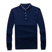 Gestrickte T Shirts Männer Frühling und Herbst neue 100% Baumwolle T-Shirt Männer Normallack Sommer-T-Shirt Mandarin Collar Long Sleeve Top Tees Trend