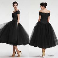小さな黒いブラックの花嫁のドレスティーレングスチュールバトー母親のイブニングドレスオフショルダージッパーバックメイドの名誉ドレス