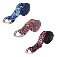Femmes D-Ring Yoga Ceintures Bracelet Fitness Corde de couleur Imprimé Yoga Ceinture de yoga réglable extensible Ceinture Lavable Sport extensible Sangle Props FT19