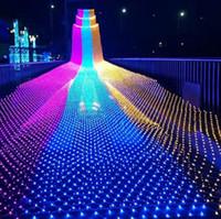 LED rede líquida 1,5 * 1.5m / 2 * 2m / 3 * 2m / 6 * 4m 8 tipos de padrões tecelagem luzes de string luzes de Natal luzes de férias LLFA