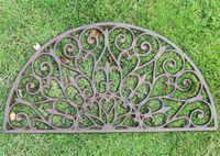주철 Doormat 절반 둥근 도어 매트 골동품 장식 금속 매트 갈색 빈티지 홈 가든 마당 안뜰 초원 장식 공예 원예