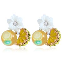 New Fruit Lemon Earring Stud Per ragazze Fashional Flower Ear Stud Gioielli Corea Style Personalità Crystal Ear Ring Creative Charm Ear Stud