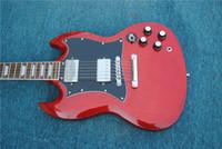 Livraison gratuite! Meilleur prix Haut de la qualité SG Guitare électrique. Guitare électrique rouge, agglouette de palissandre. Instrument de musique classique