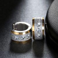 Jewels Stud Leadnickel Free الفولاذ المقاوم للصدأ أقراط الدائرة الصغيرة المعبدة لامعة تشيكوسلوفاكيا فاسق هوب هوب حلق للنساء أو الرجال GTE01