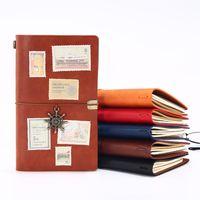 Os alunos Notebook Vintage Sólidos Jornal de couro cor PU Capa Diário de Bordo Livros Retro Bloco de Notas Livro de nota Papelaria Escolar presente DBC VT0928