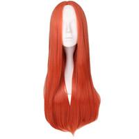 여자 롱 스트레이트 가발 파티 코스프레 오렌지 레드 중간 부품 고온 섬유 합성 머리 가발