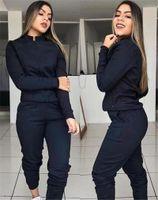 Женщины Дизайнер Zipper Fly костюмы Стенд Воротник двухкусочной Эпикировка вскользь Массивные Женские костюмы
