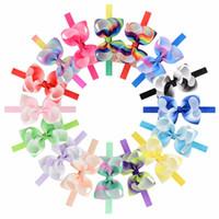 16pcs / Lot 4.3 '' colorati fasce arcobaleno dei capelli dell'arco della fascia grosgrain Stampa Nuova Design Boutique Accessori per capelli per neonate
