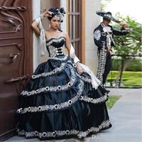 2020 Luxury Bianco e nero Quinceanera Abiti da masquerade Party Ball Gown Cascade Ruffles Ricamo Lunghezza del pavimento Lace-up su misura
