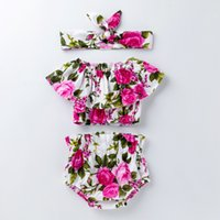 New Summer Infant Neonate 3pcs Set Neonati Fiori Top + Shorts + Fascia per bambini Set bambini Neonati Florals Outfits Abbigliamento Suit 14761