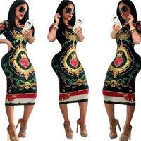 Y184 Poker лицо Цифровая печать с коротким рукавом середине теленок вскользь платье 3 цвета для женщин выбирают