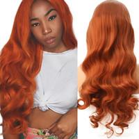 Top Qualität Körperwelle 24 Zoll Orange Farbe Perücke Glueless Synthetische Spitze Front Perücke mit Baby Haar Hitzebeständige Haare Mode Frauen Cosplay