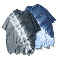 الرجال مصمم التعادل صبغ طبع المحملات أزياء نصب منصة اللون فضفاض تيز عارضة البلوز كم قصير تي شيرت الرجال الملابس