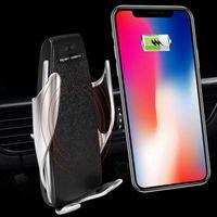 S5 Otomatik Sıkma Kablosuz Araç Şarj iphone Android Hava Firar Telefon Tutucu 360 Derece Rotasyon Şarj Montaj Dirseği DHL