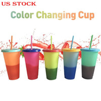 Kupa ile Straw Çevre Dostu Sihirli Cam Buz Su Gradient Renk Kupası Değişen ABD Stok Tekrar Kullanılabilir Plastik Sıcaklık Renk