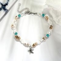 Nuovo Conch Mizhu catena Yoga piede Bracciale Beach Starfish Shell Pendant di cristallo del piede branello dei monili WL761