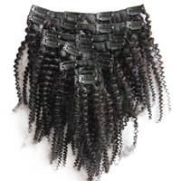 clip afro-americana in estensioni capelli umani 8 pezzi / set clip afro kinky in estensioni clip 100G in estensioni dei capelli umani