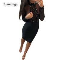 Платье Ziamonga Mesh Повязка Vestido De Festa Повязка Черное сексуальное платье для женщин с длинным рукавом Bodycon 2018 Club Robe Femme Y19051001