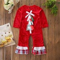 مصمم ملابس الأطفال الأحمر بأكمام طويلة الكشكشة القوس عيد الميلاد السروال القصير حللا ربيع الخريف الطفل ملابس فتاة