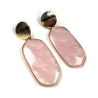 Venta al por mayor 10 pares Pendientes chapados en oro Pendientes de la forma óvalo Cuarzo de rosa para las mujeres White Howlite Piedly Jewelry
