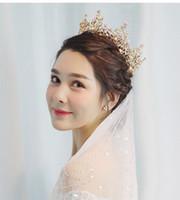 Himstory lujo accesorio de la joyería del Rhinestone boda Ronda reina rey TiarasCrowns de la corona de la perla de Floweer Prom diadema de pelo