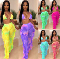 8 colors Women Tie Dye Two Piece Outfits Pink Galaxy Print M...
