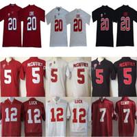 NCAA كلية ستانفورد الكاردينال جيرسي 20 برايس الحب 5 كريستيان ماكافري 7 جون إيلوى 12 أندرو الحظ جيرسي بيت أبيض أحمر أسود