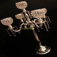 10 pezzi 75 cm altezza 5 bracci metallo candelabri cromati / oro con pendenti in cristallo portacandele matrimonio centrotavola zanna