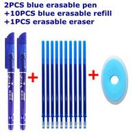 13 12Pcs Set Gel Pen 0.5mm Erasable Washable Handle Erasable Pen Refill Rod Blue Black Ink School Stationery Office Writing Tool