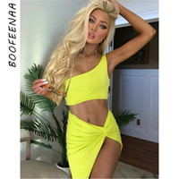 b92f498e6e89 One Shoulder Knotted Slit Sexy Two Piece Set Crop Top And Skirt Club  Outfits Summer Dress Matching Sets