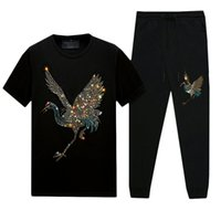 Summer Casual Mens Designer T-Shirts calças Set-Short-Sleep Hot Rhinestone Slim Crew Neck Tops T-Pants mercerized Cotton