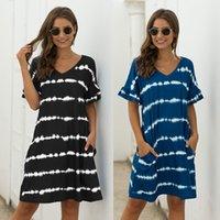 2 Renkler Kadın Elbiseler Cep Şerit Tie-Boya Rahat Gevşek Kısa Kollu Elbise Yaz V Yaka Moda Mizaç