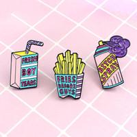 3 pz Lovely Cartoon Brooch Pins Carino risvolto Pins Spille in smalto Set fritte fritte fritte fritte Latte Box spray Denim Giacca Badge Gioielli Accessori