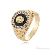 Lion Ringe Schmuck für Männer Frauen - Gold Silber Farben Kristall Strass Legierung Ringe US Größe 6-14