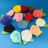 14 Color para elegir las flores de rosa de fieltro de lana usando para hacer que las bandas de la cabeza de bricolaje o los clips para el cabello de la niña broch alfiler el accesorio de artesanía
