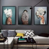 Özet Çiçek Avatar Kız Kanvas Boyama Duvar Boyama Baskı Poster Duvar Sanatı Oturma odası Modern Ev Dekorasyonu