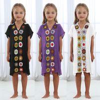 طفل أطفال زهرة الكروشيه دريس باريو بيتش ملابس السباحة تغطية بحر أطفال قميص التستر والزجاج فساتين التستر ljja2591