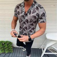 Hombres camiseta de verano 2020 de moda ocasional de la impresión camisas de rayas de manga corta floja de vacaciones Hawaiian Beach blusa superior de Dropshipping # 45