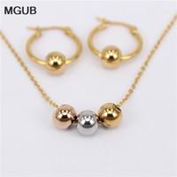 MGUB Boucle d'oreille choix de taille 10mm-70mm Activité 3 Perles en métal colorées Bijoux Ensemble de bijoux en acier inoxydable (collier de boucles d'oreilles) cadeau