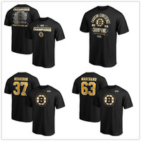 # 63 Marchand # 37 Bergeron Boston Bruins T-Shirts 2019 Stanley Cup Eastern Conference Champions Fan dell'hockey Tops Tees Team stampato Logo del marchio