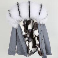 blanc noir garniture fourrure de raton laveur marque femmes Maomaokong manteaux blanc fourrure de renard noir mini argent doublé vestes parka de neige