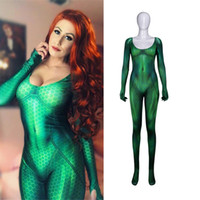 Marvel Quinn Mera Costume Cosplay Justice League Costumi Sexy attillato Catsuit Supereroe Costume Party Tuta