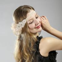Ivory Feather Elastic Flapper Headband White Beaded & Silver Rhinestone Headband Bridal Fascinator Hats with Veil Wedding Hair Accessories