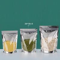 400pcs Mylar Stand Up Aluminium Folie Clear Package Pack Väskor för mat Kaffe Förvaring Återförsäljbar Zip Lock Packing Väska Partihandel