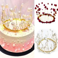 Hecho a mano Pearl Princess Crown Cake Topper Hermoso DIY Cupcake Flags Creative Wedding Birthday