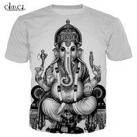 2020 Fashion Hinduism God Ganesha T-shirts Women Men 3D Print Short Sleeve Clothing Casual Couple Streetwear Tops Drop Shipping