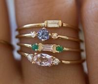 Быстрая свободная перевозка груза Vintage Даймонда 4шт комплект кольца в 18k желтого золота женщин годовщина свадьбы День подарков Высокое качество Никогда Fade