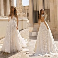 Betra кружева аппликация BOHO свадебные платья 2020 Глубокие V-шеи без спинки с короткими рукавами свадебные платья для свадебных платьев