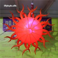 Éclairage personnalisé Gonflable Burning Sun Model Ballon 2m / 3m suspendu à LED Lantern Ball pour la décoration de scène et de musique de musique
